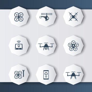 Drones modern 3d octagonal icons in dark grey-blue, vector illustration