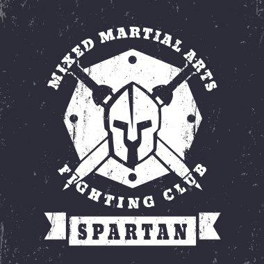 Spartan, MMA Fighting Club grunge vintage logo, badge with spartan helmet and swords, vector illustration