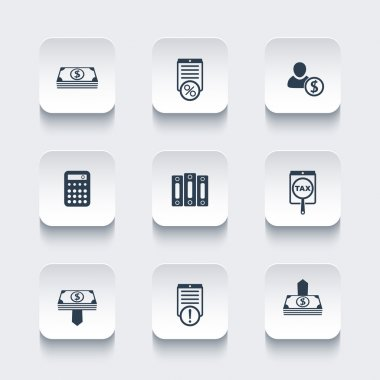 Bookkeeping, finance, payroll, rounded square icons set, vector illustration
