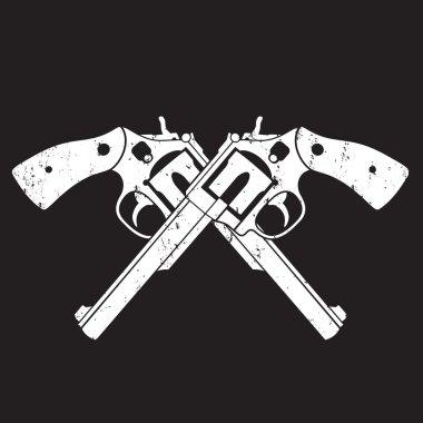 Crossed Revolvers grunge sign, t-shirt design, vector illustration