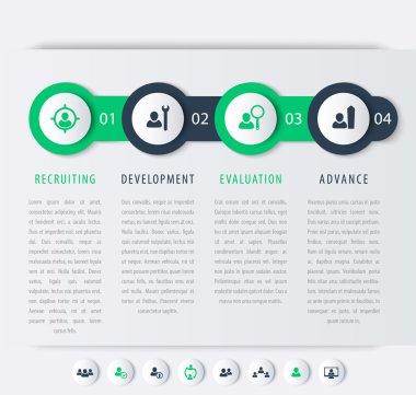 Staff, HR, staff development steps, timeline, infographic elements, icons, vector illustration