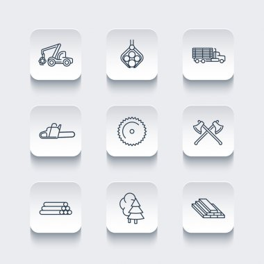 Logging, timber, forestry, tree harvester, logging truck line icons, rounded square set, vector illustration