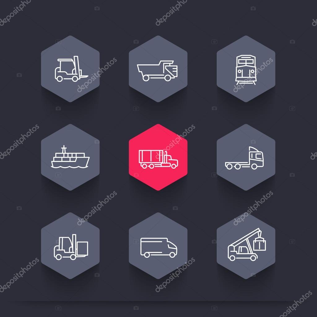 Transport, Linie Hexagon Symbole, Gabelstapler, Frachtschiff ...