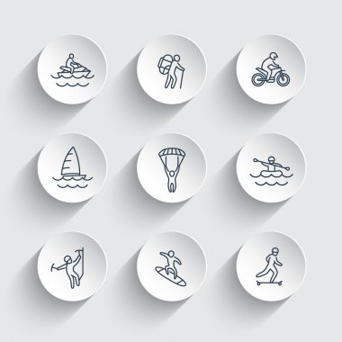 Extreme outdoor activities line icons on round 3d shapes, vector illustration stock vector