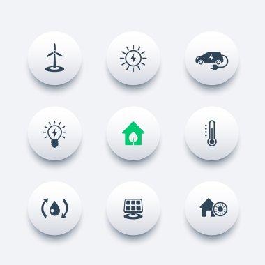 Green ecologic house, ecofriendly, energy saving technologies, round modern icons, vector illustration clip art vector