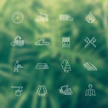 Logging, sawmill line white icons, logging truck, timber, lumberjack, wood, tree harvester, vector illustration