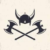 Photo Vikings Helmet and crossed viking battle axes, vector illustration