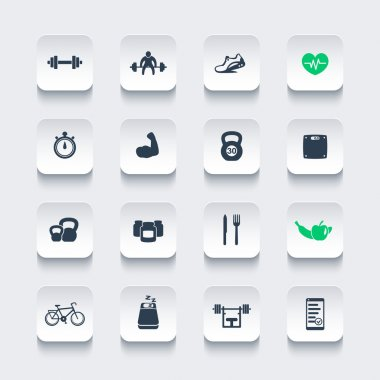 16 fitness, gym, sport, workout icons, rounded square set, vector illustration