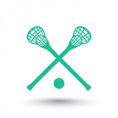 Lacrosse icon, sign, crossed crosses, lacrosse sticks and ball, vector illustration
