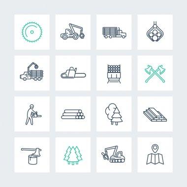 Logging line icons in squares, sawmill, logging truck, tree harvester, timber, lumberjack, lumber, vector illustration