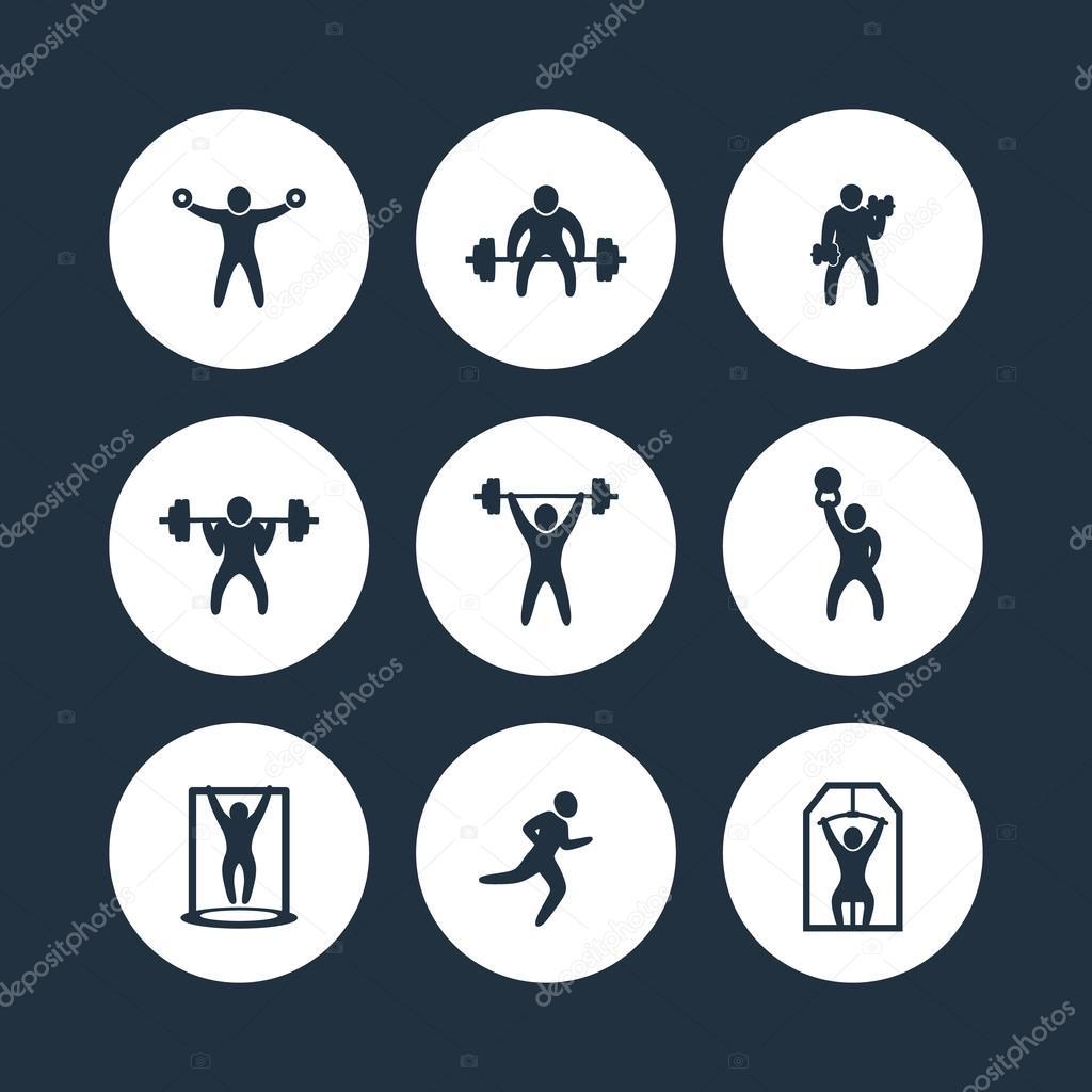 salle de gym  exercices de remise en forme ronde ic u00f4nes  formation gym  ic u00f4ne de la s u00e9ance d