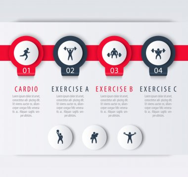 Gym training, workout, 4 steps infographic design, with fitness exercise icons, vector illustration