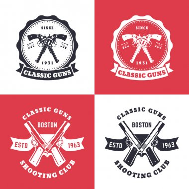 Classic guns, vintage emblems, badges with crossed revolvers, pistols, isolated t-shirt print, design, vector illustration
