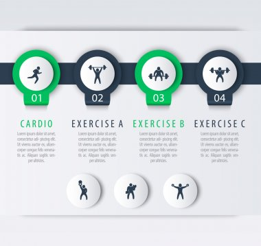 Gym training, workout, 4 steps infographic elements, with fitness exercise icons, vector illustration