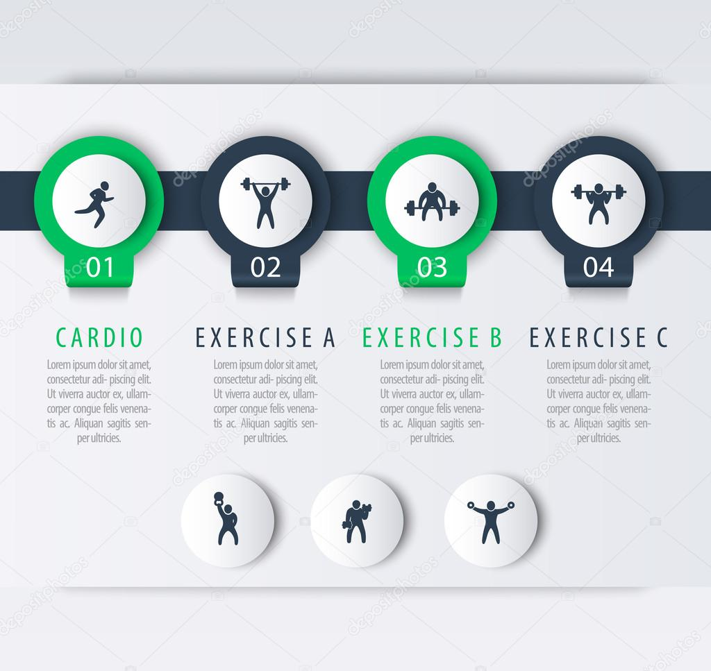 Gym Training Workout 4 Steps Infographic Elements With Fitness Exercise Icons Vector