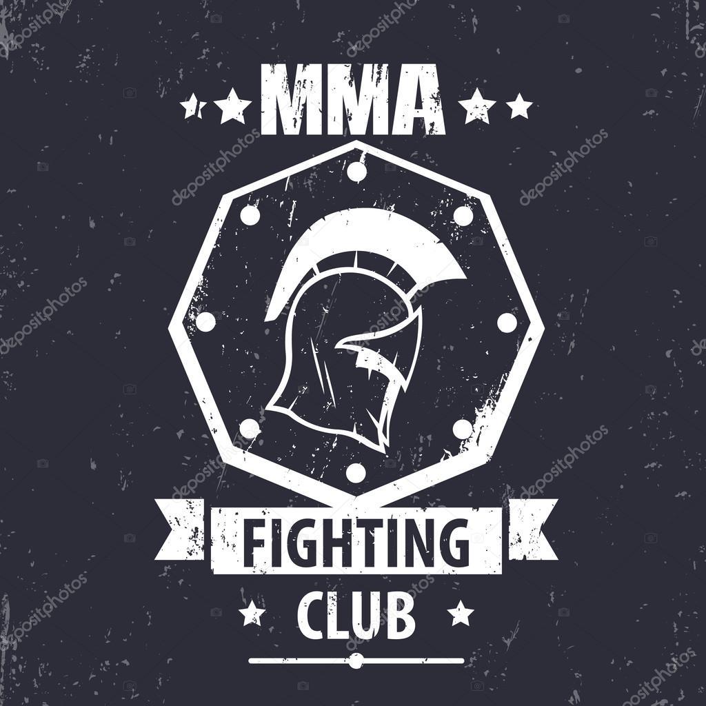 MMA Fighting Club grunge logo, emblem, badge with spartan