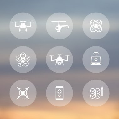 Drone, copter, quadrocopter round transparent icons, vector illustration