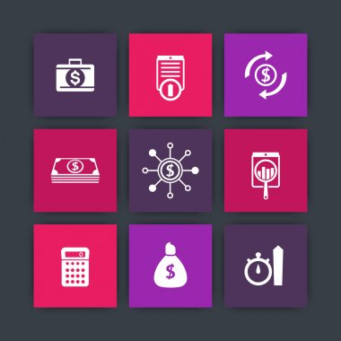 finance, investments, capital icons on squares, vector illustration