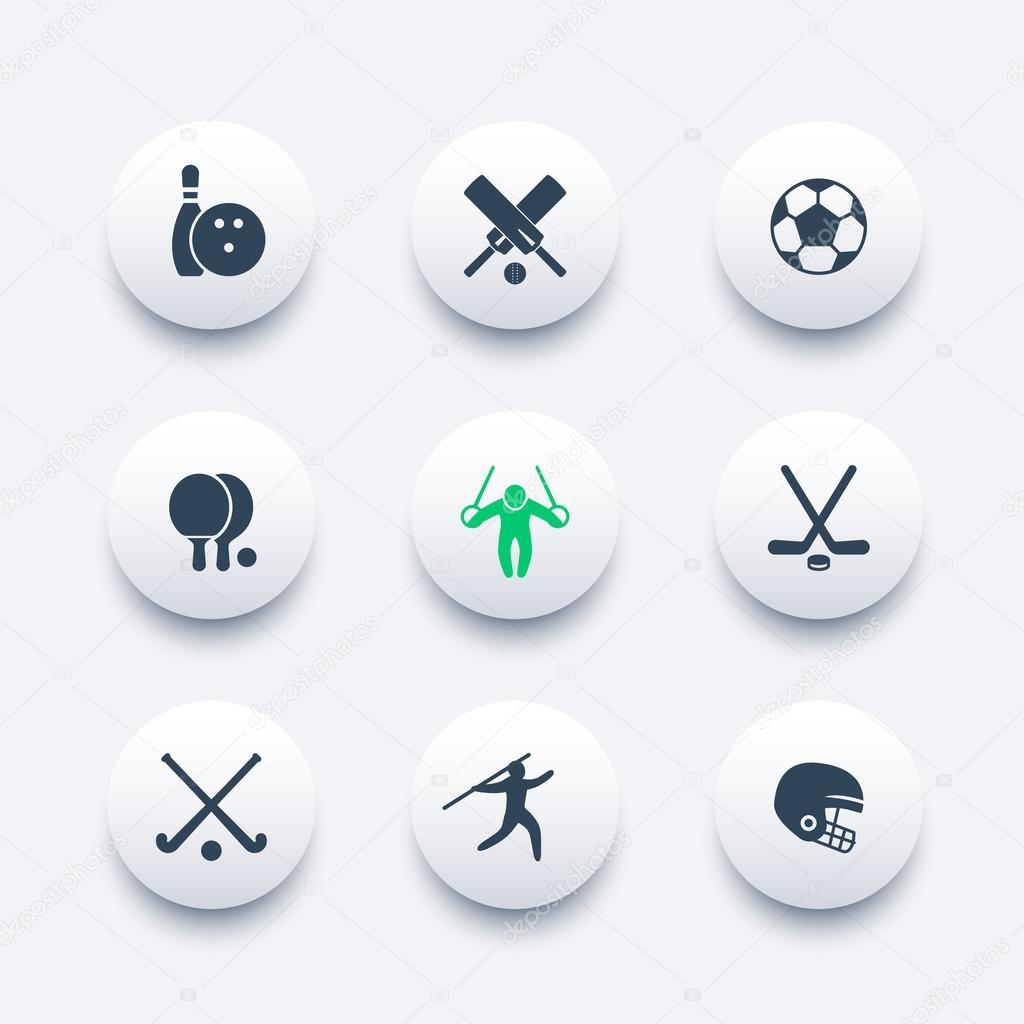 Moderne Spiele sport spiele wettbewerb runde moderne ikonen vektor illustration