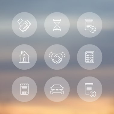 Leasing line icons, banking, loan, assets, deal round transparent icons, vector illustration