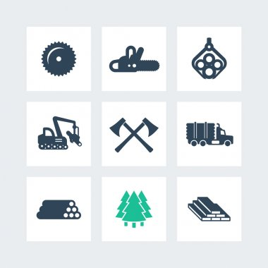 Logging, forestry equipment icons, sawmill, logging truck, tree harvester, timber, wood, lumber, chainsaw icons on squares, vector illustration