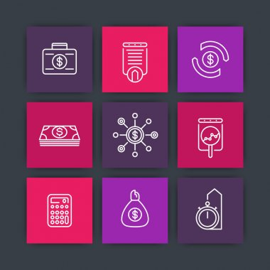 finance line icons, investments, financial management, investment analysis icons on squares, vector illustration