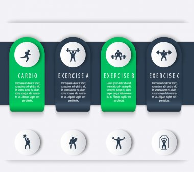 Gym training, workout, 4 steps, infographics elements, with fitness exercise icons, vector illustration