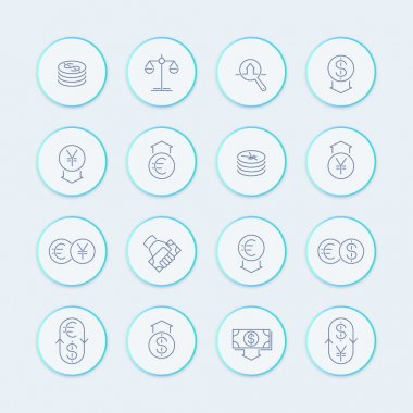 Currency line icons, forex trading, money, investment round stylish icons, vector illustration