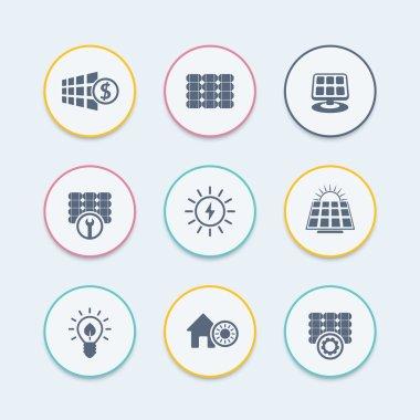 Solar energy icons, panels, alternative energetics, solar panels maintenance, round icons, vector illustration