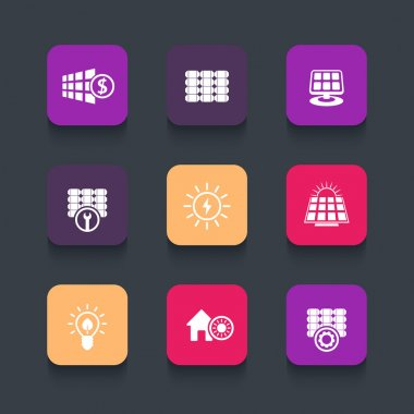 Solar energy, panels, sun powered energetics rounded square icons, vector illustration