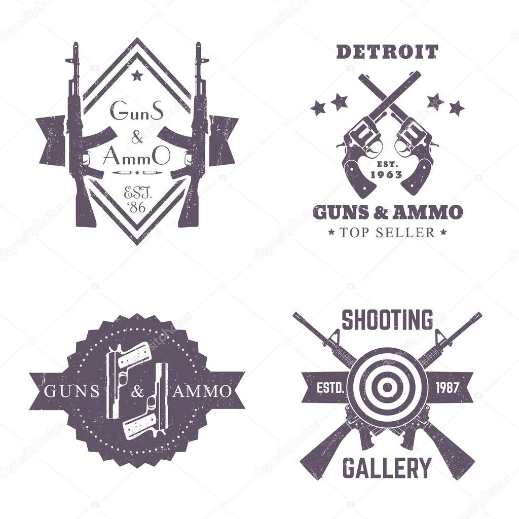Guns and ammo vintage logos set badges with automatic rifles guns and ammo vintage logos set badges with automatic rifles crossed revolvers buycottarizona