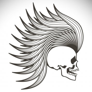 Skull with mohawk. Vector background