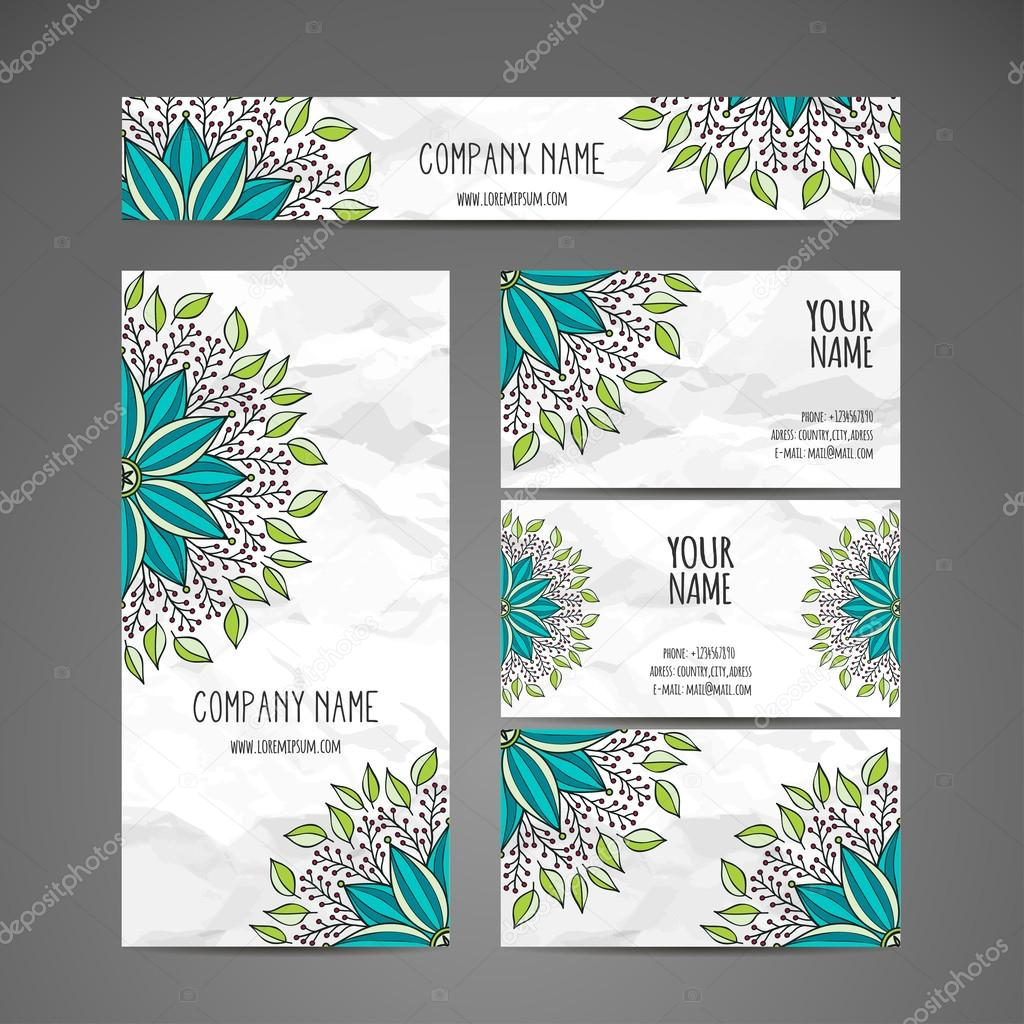 Business card collection vector background vintage for Business card collection