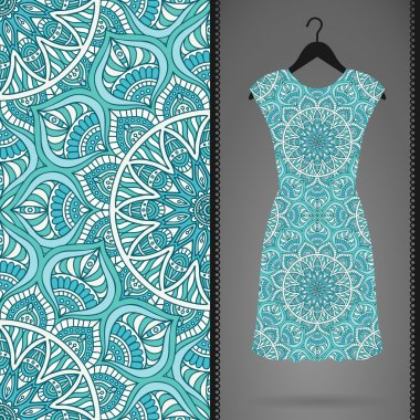Card with dress and seamless pattern. Vintage decorative elements. Hand drawn background.