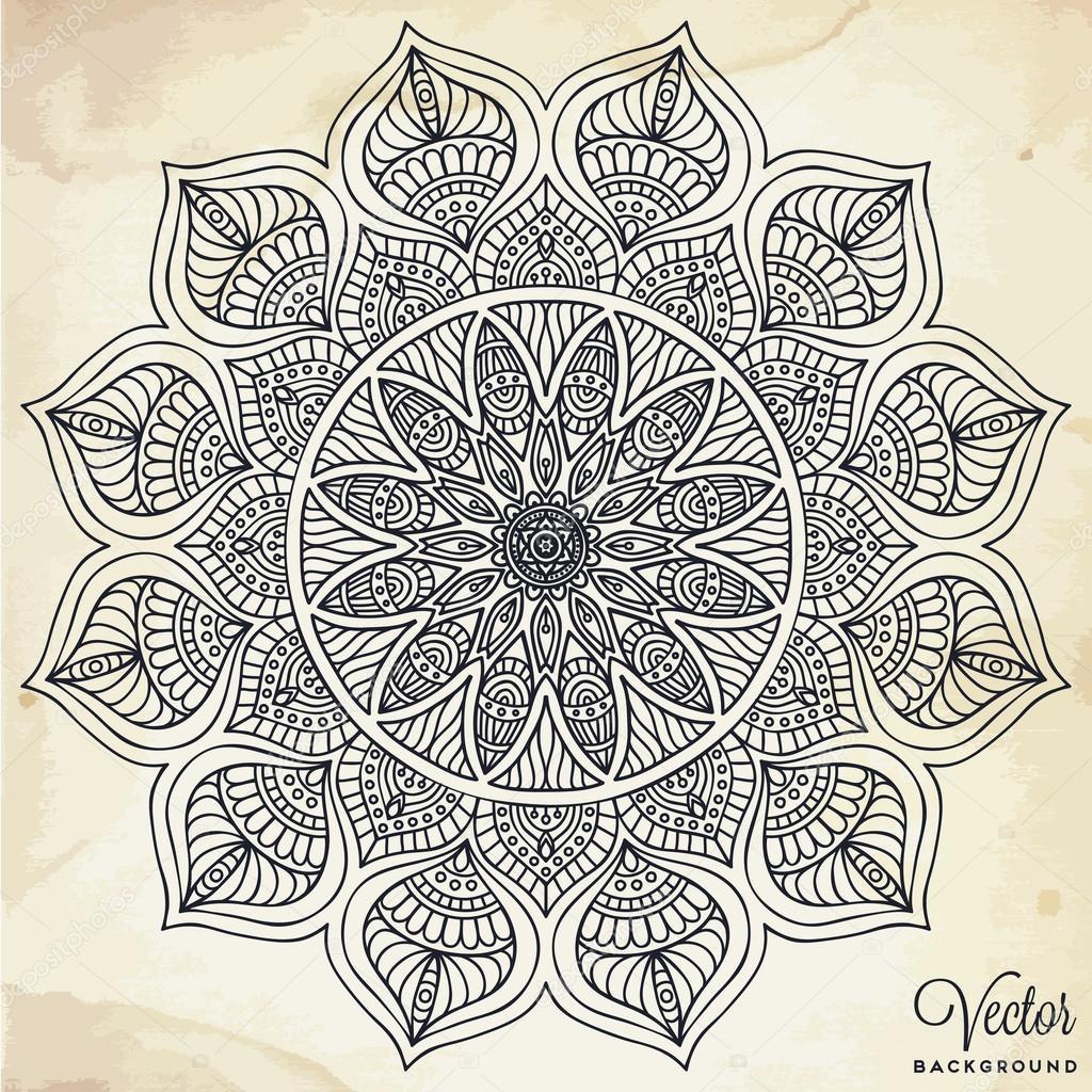 Mandala Round Ornament Pattern Vintage Decorative Elements Hand Drawn Background Islam