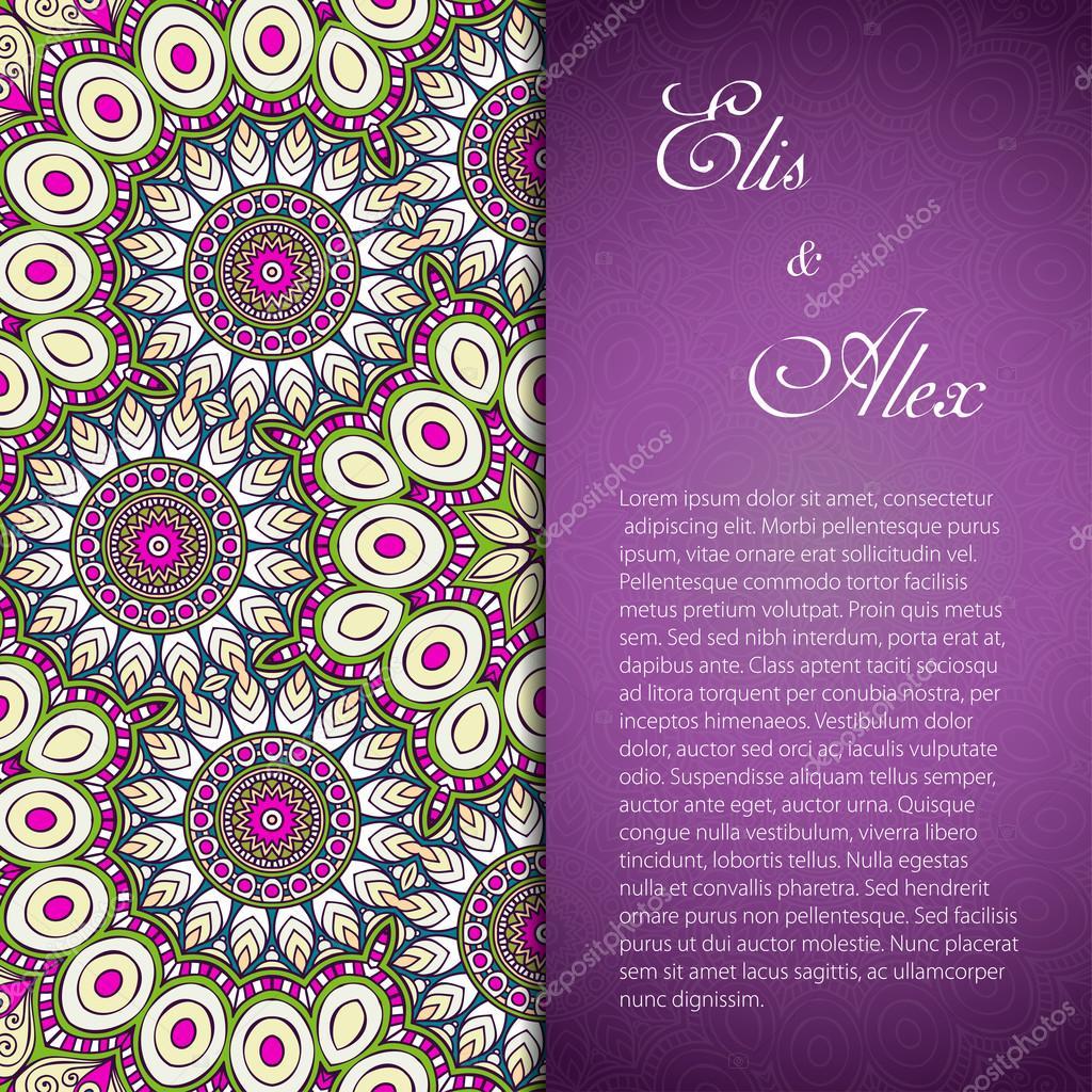 Card. Round Ornament Pattern. Vintage decorative elements. Hand drawn background. Islam, Arabic, Indian, ottoman motifs.