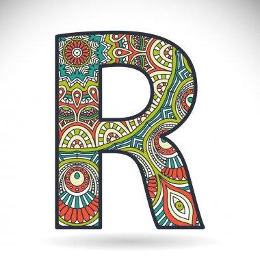 Vintage alphabet letter R