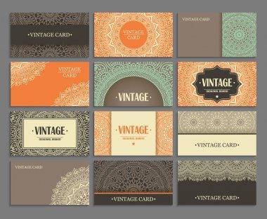 Set business card. Vintage decorative elements. Hand drawn background. Islam, Arabic, Indian, ottoman motifs. stock vector