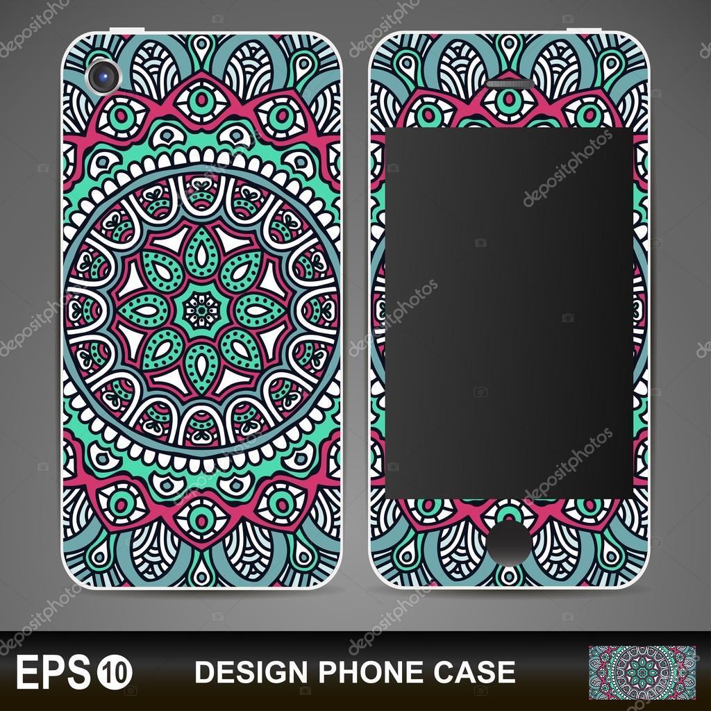 Phone case design. Vintage decorative elements.