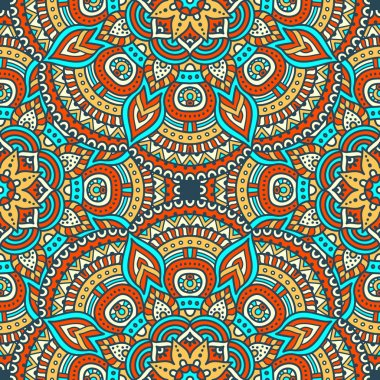 Ethnic floral seamless pattern. Abstract ornamental pattern clip art vector