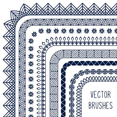 Ethnic hand drawn vector line border set and hipster scribble design element