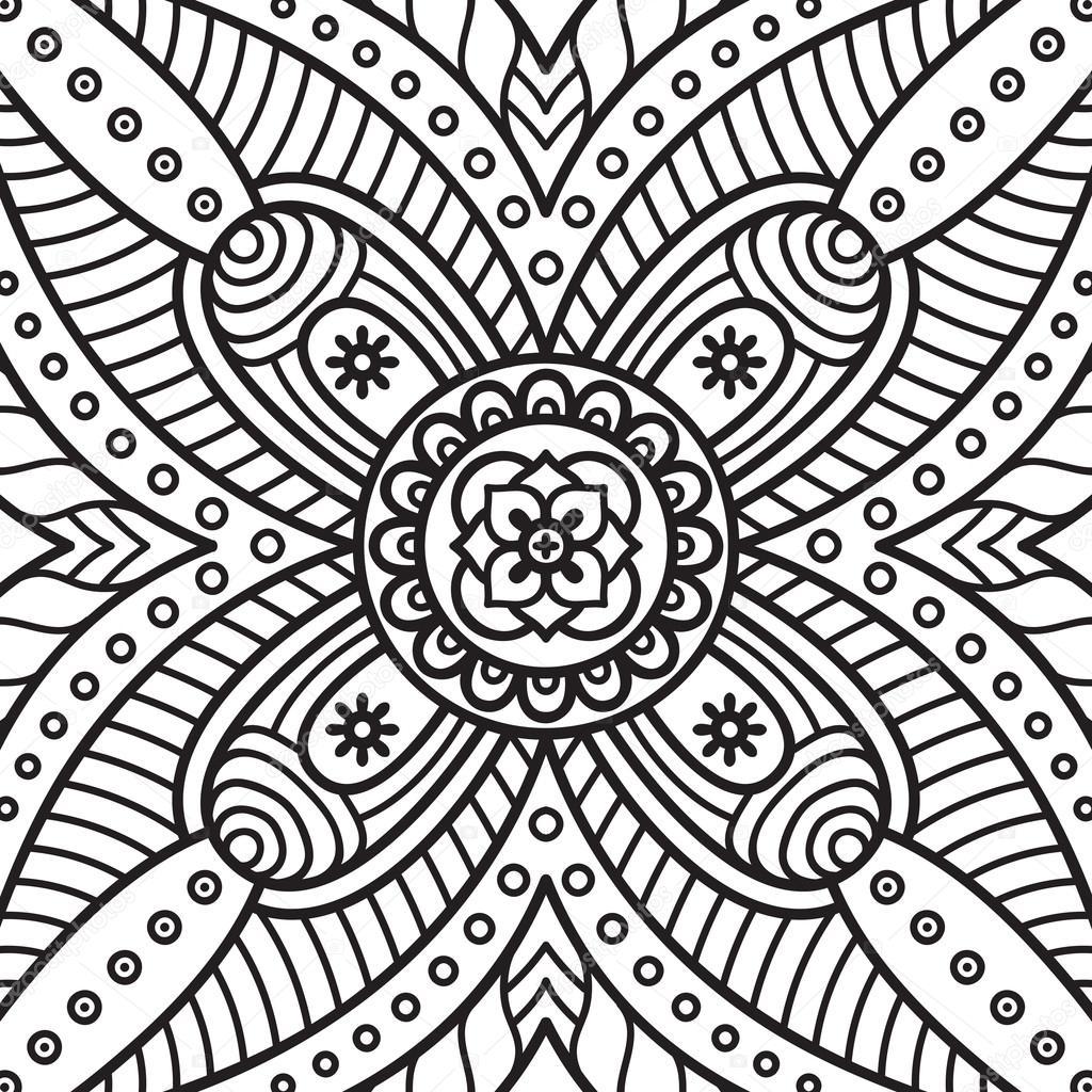 Mandala Boyama Sayfasi Stok Vektor C Vikasnezh 90227572