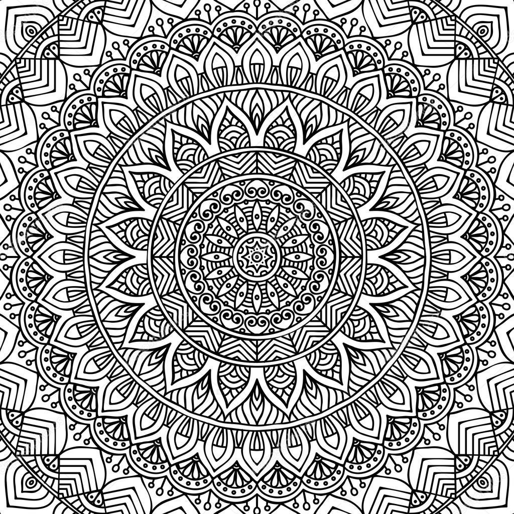 Mandala Boyama Sayfası Stok Vektör Vikasnezh 90227998