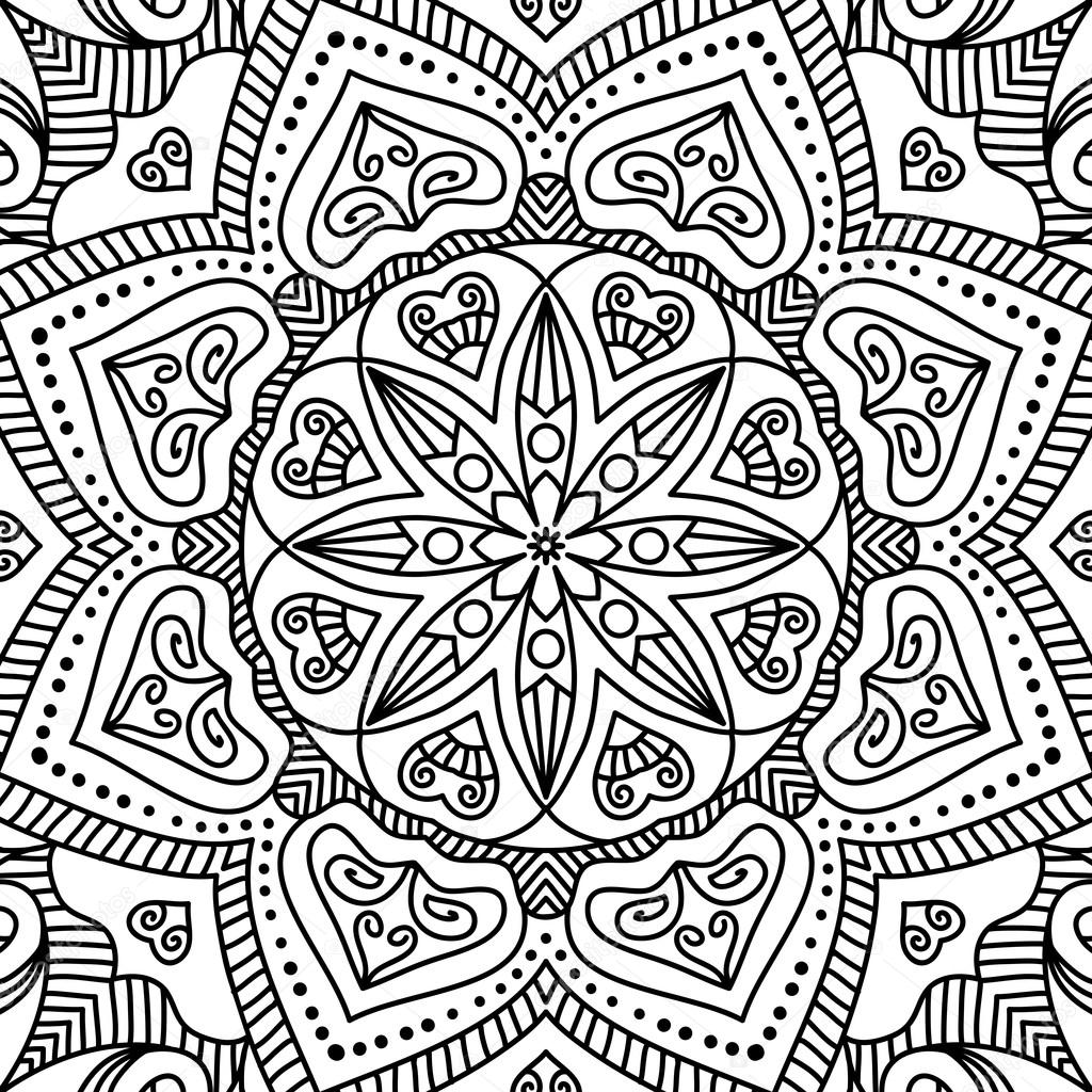 Mandala Boyama Sayfası Stok Vektör Vikasnezh 90228170