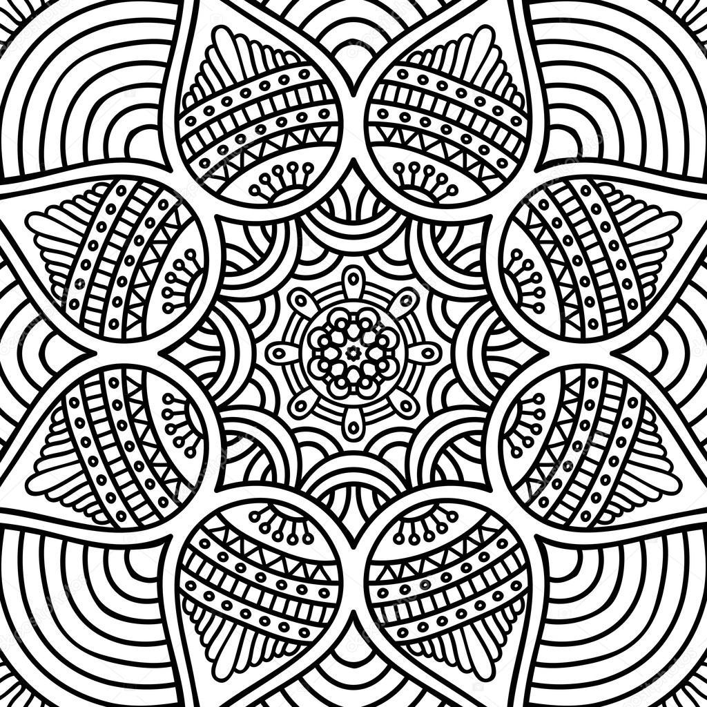 Mandala Boyama Sayfasi Stok Vektor C Vikasnezh 90229172