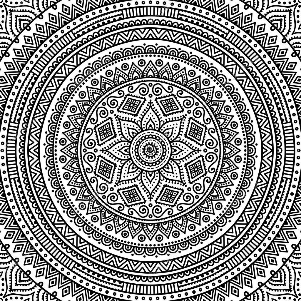 Mandala Boyama Sayfası Stok Vektör Vikasnezh 90229218