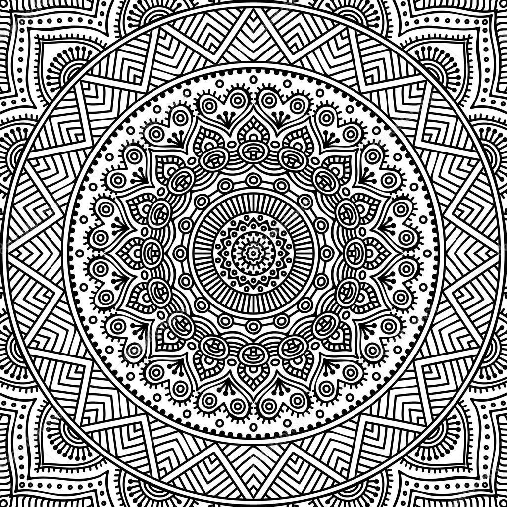 Mandala Boyama Sayfası Stok Vektör Vikasnezh 90229228