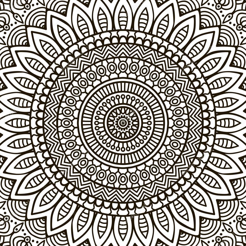 Mandala Boyama Sayfası Stok Vektör Vikasnezh 90229352