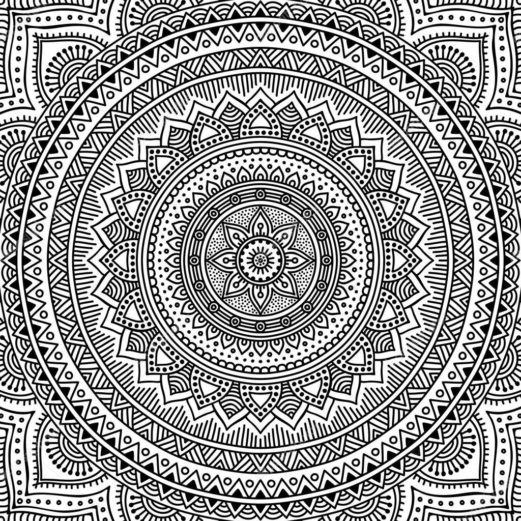 Mandala Boyama Sayfası Stok Vektör Vikasnezh 90235890