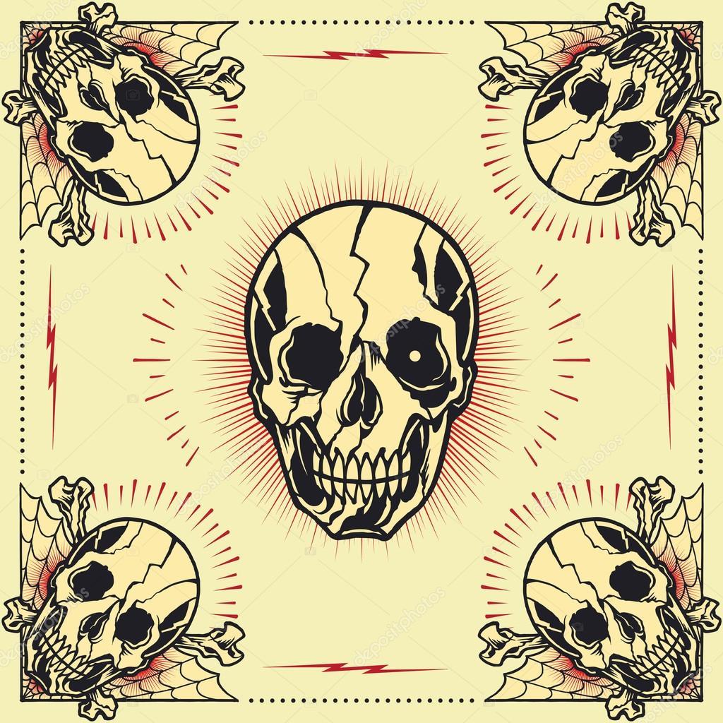 Hueso del cráneo Cruz marco — Vector de stock © 13UG13th #62841829